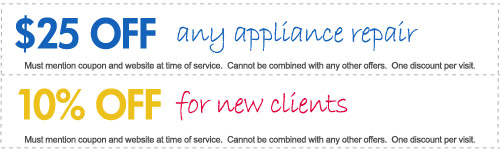 Money Saving Coupons for appliance repair in Jacksonville: $25.00 OFF any appliance repair. 10% OFF for new clients.
