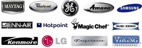 We service and repair most brands including: Whirlpool Maytag, GE, Hotpoint, Frigidaire, Samsung, LG, Jenn-Airm Magic Chef, Sub Zero, Viking and Kenmore appliance.  We offer fast, same day service.